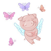 Cute pigs angels in cartoon style. Funny Valentines day set in vector. Vector illustration