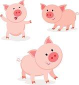 Cute pigs. Cheerful pig.