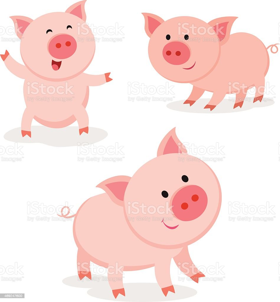 Cute pigs. Cheerful pig. vector art illustration