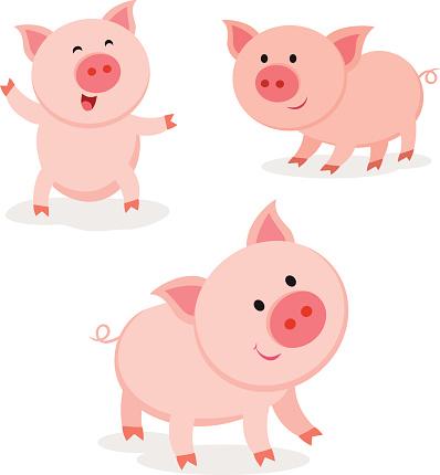 귀여운 돼지 활기참 돼지 2015년에 대한 스톡 벡터 아트 및 기타 이미지