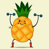 Cute Pineapple cartoon character doing exercises with dumbbells. Eating healthy and fitness. Vector illustration isolated on background.