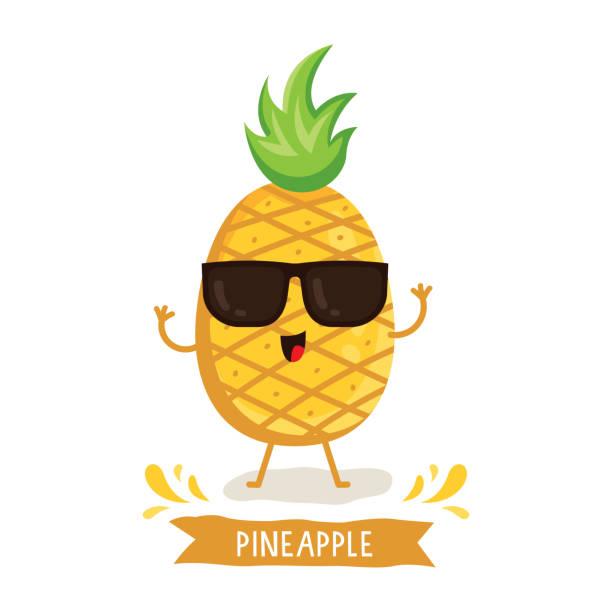 illustrazioni stock, clip art, cartoni animati e icone di tendenza di cute pineapple character - ananas
