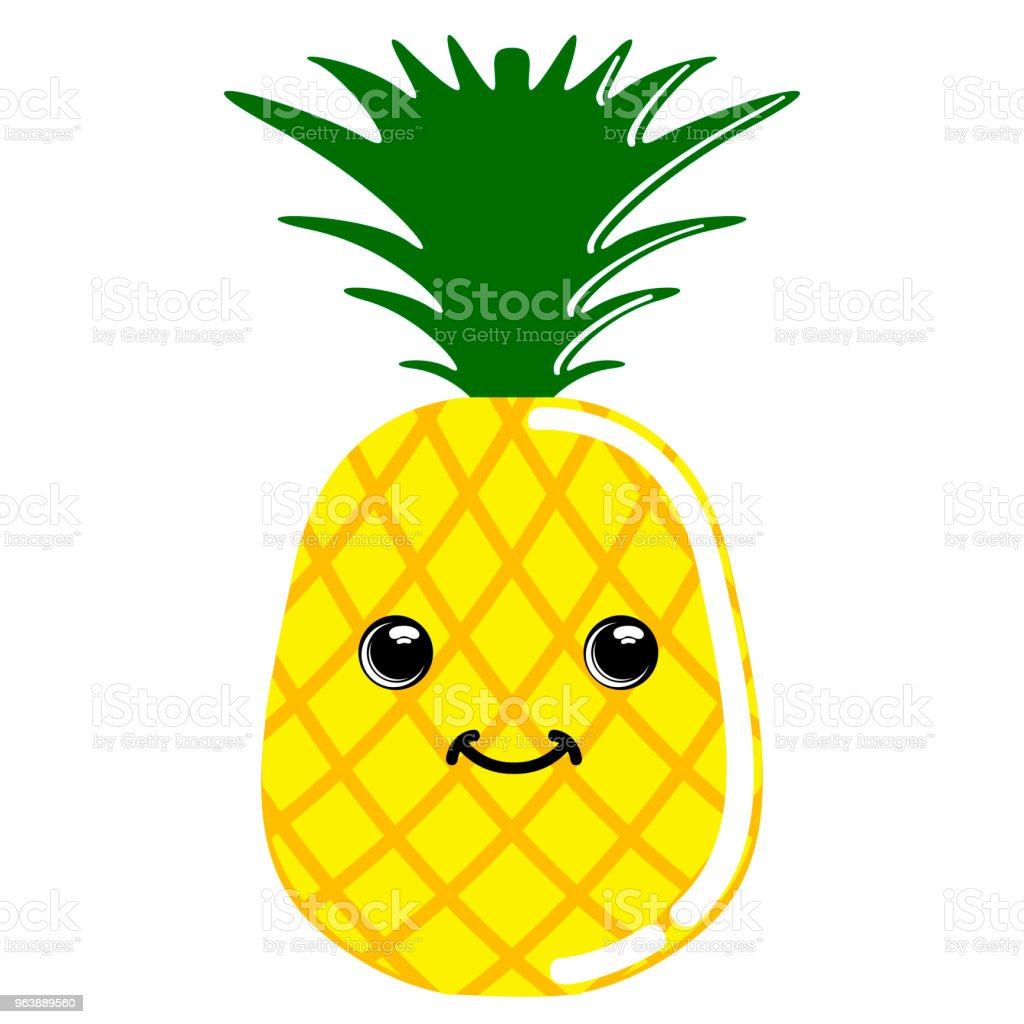 Cute pineapple emoticon - Royalty-free Cartoon stock vector