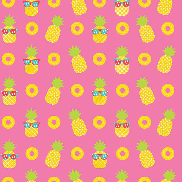 cute pineapple seamless pattern background - beach fashion stock illustrations, clip art, cartoons, & icons