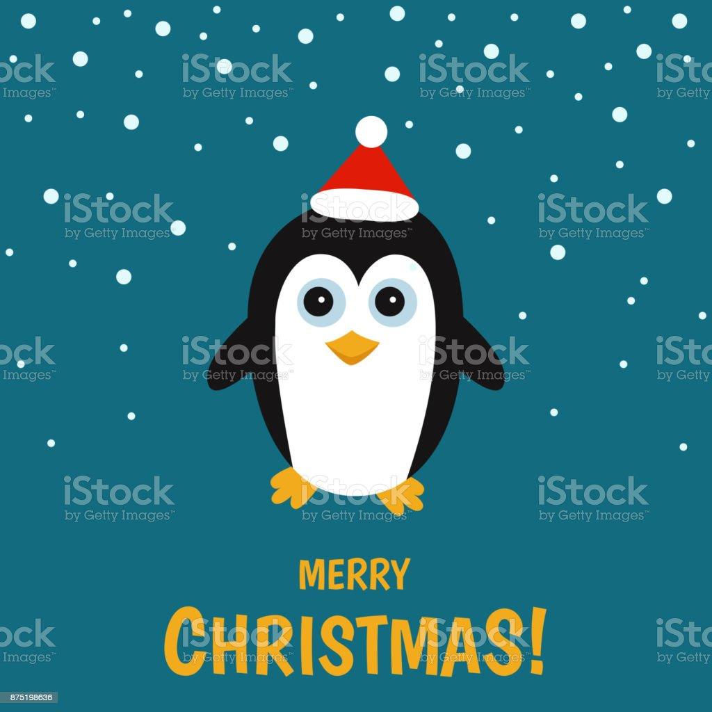 Cute  pinguin  on  winter  landscape. vector art illustration
