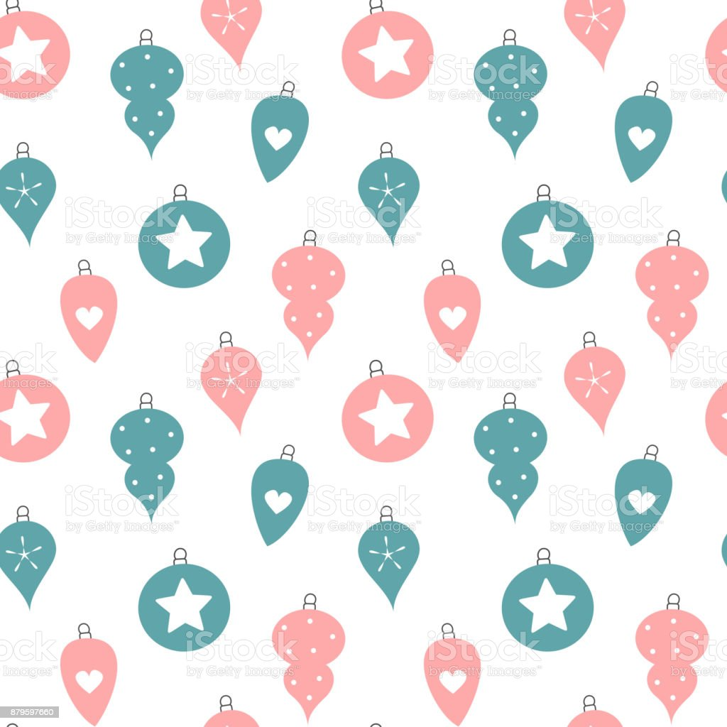 cute pink and blue christmas balls seamless vector pattern background illustration vector art illustration