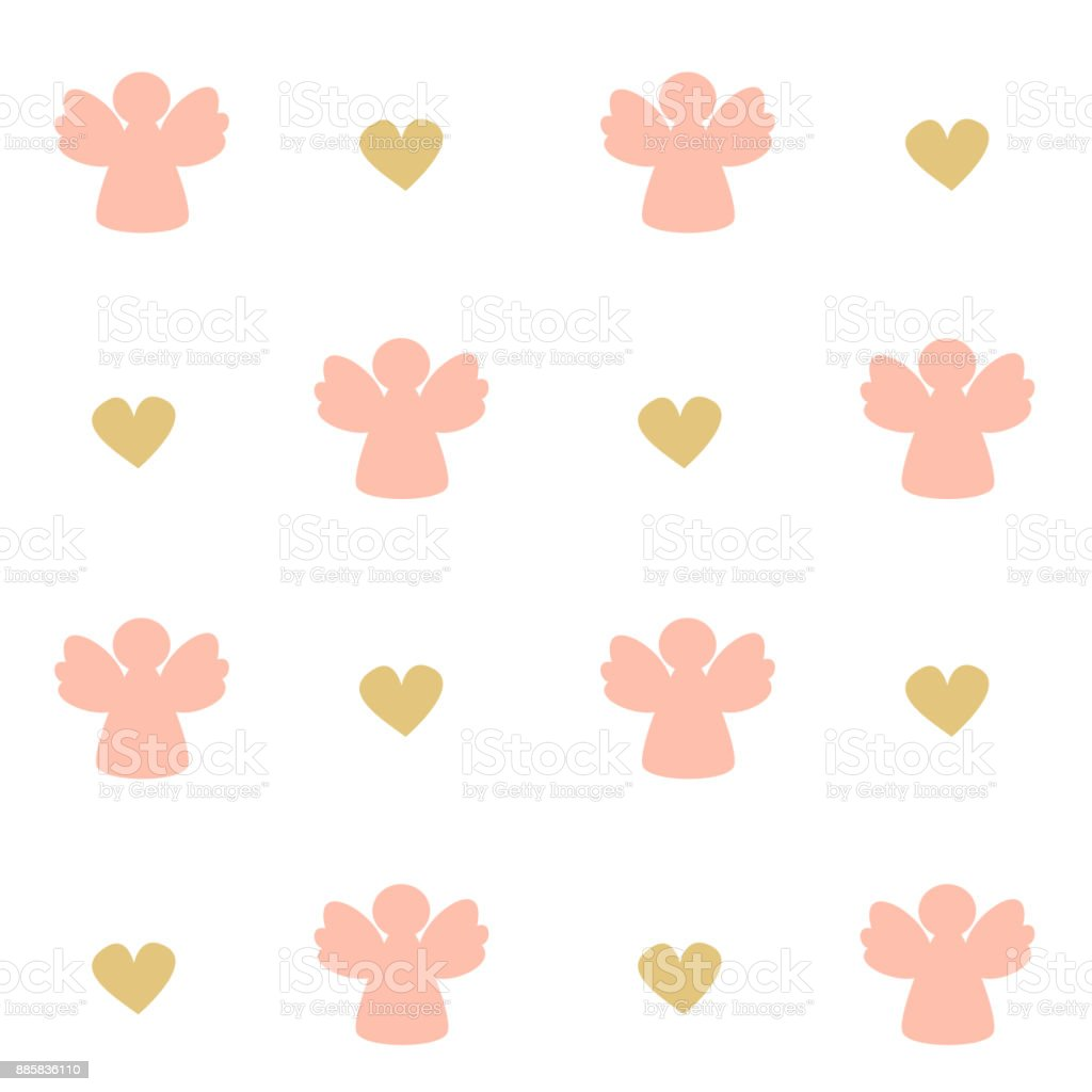 cute pink angels silhouette seamless vector pattern background illustration vector art illustration