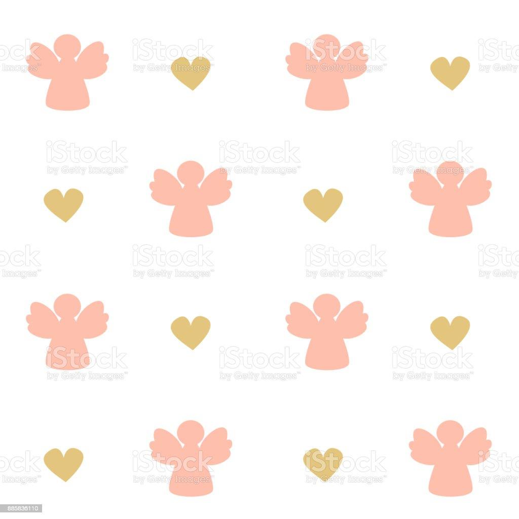 Ángeles rosa lindas silueta ilustración de fondo de patrón transparente de vector - ilustración de arte vectorial