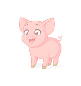 Cute happy pink baby piglet standing. Vector cartoon character isolated on white background.