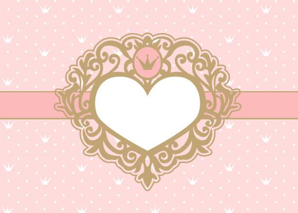 niedliche rosa hintergrund mit polka dots und krone. luxus gold fotorahmen in form eines herzens. - prince stock-grafiken, -clipart, -cartoons und -symbole
