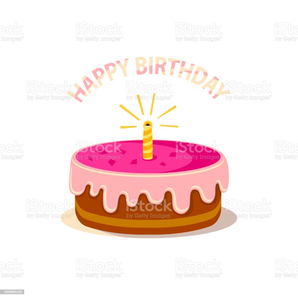Cute Pink Cake With One Candle And Text Happy Birthday Isolated On