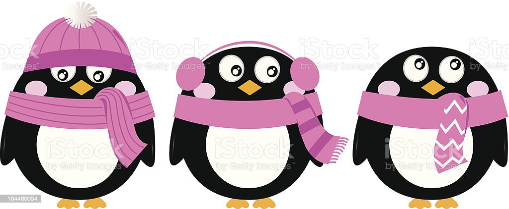 Cute pink cartoon penguin set isolated on white royalty-free stock vector art