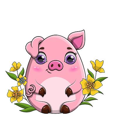 Cute pink cartoon pig sitting amongst spring flowers