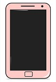 cute pink cartoon smartphone illustration