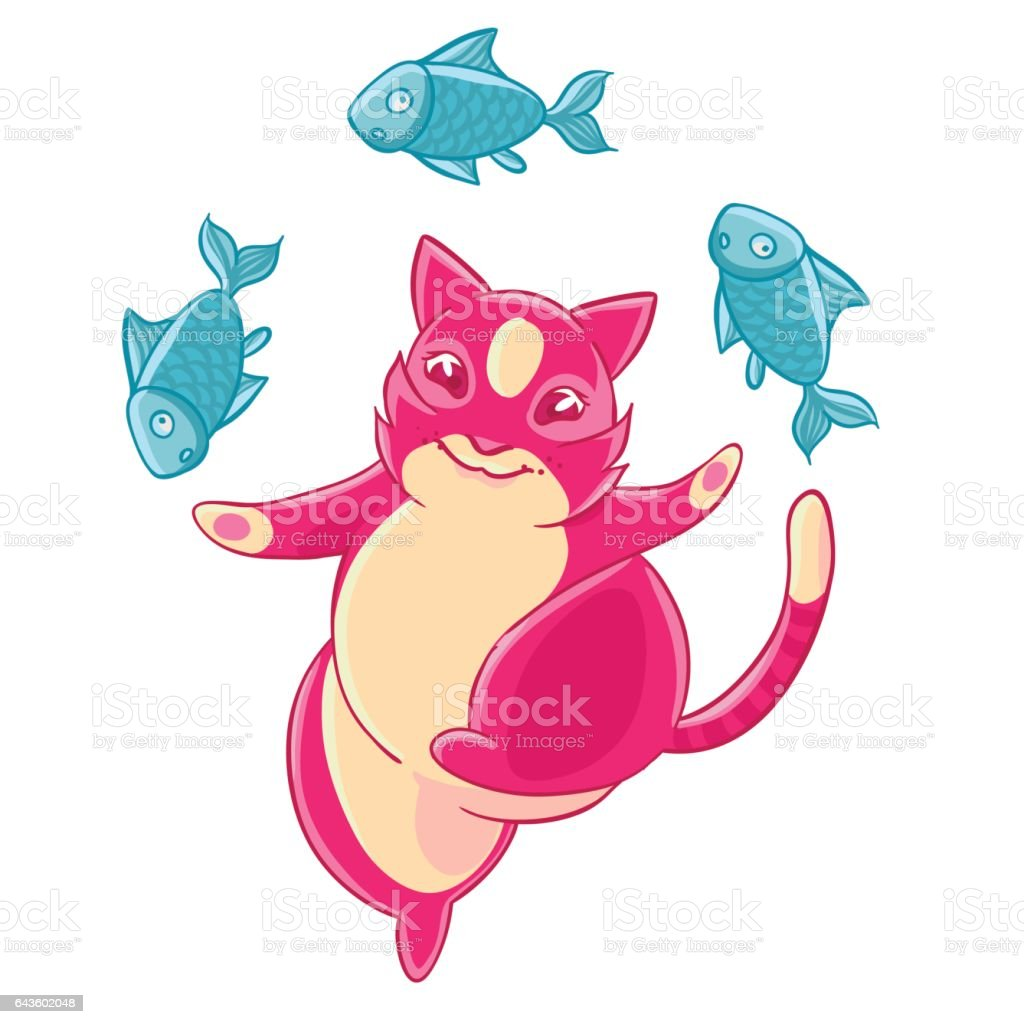 Cute Pink Cat Smiling And Juggling Fish Stock Illustration