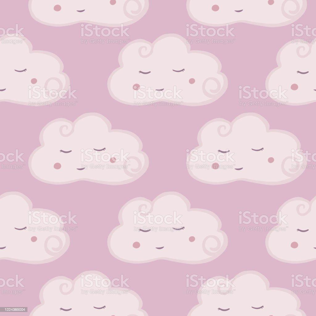 Cute Pink Cloud Seamless Pattern Hand Drawn Character Cloud Sky