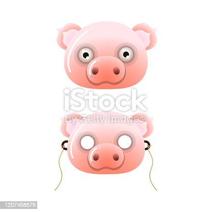 istock Cute pink color kid farm pig mask with eyes 1207458575