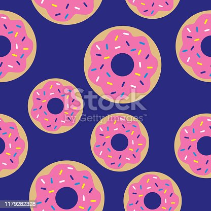 Vector seamless pattern of cute pink sprinkle donuts on a blue background.