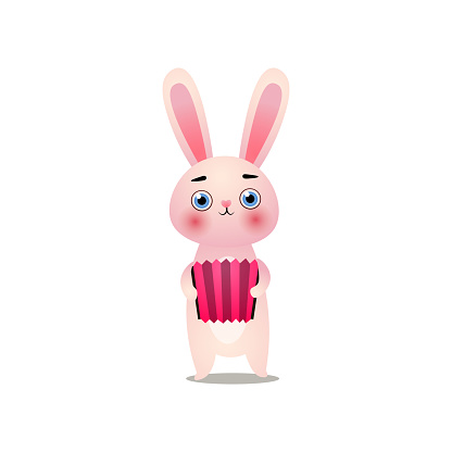 Cute pink easter bunny is playing at old accordion