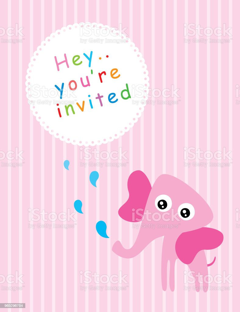 cute pink elephant baby shower greeting card vector cute pink elephant baby shower greeting card vector - stockowe grafiki wektorowe i więcej obrazów baby shower royalty-free