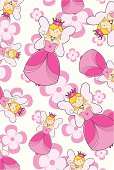 Pink fairy princess character with crown, necklace and wand. Repeat pattern on a pink floral background.