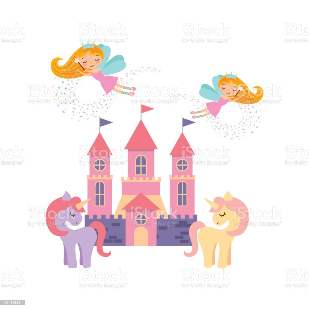cute pink fantasy castle vector art illustration
