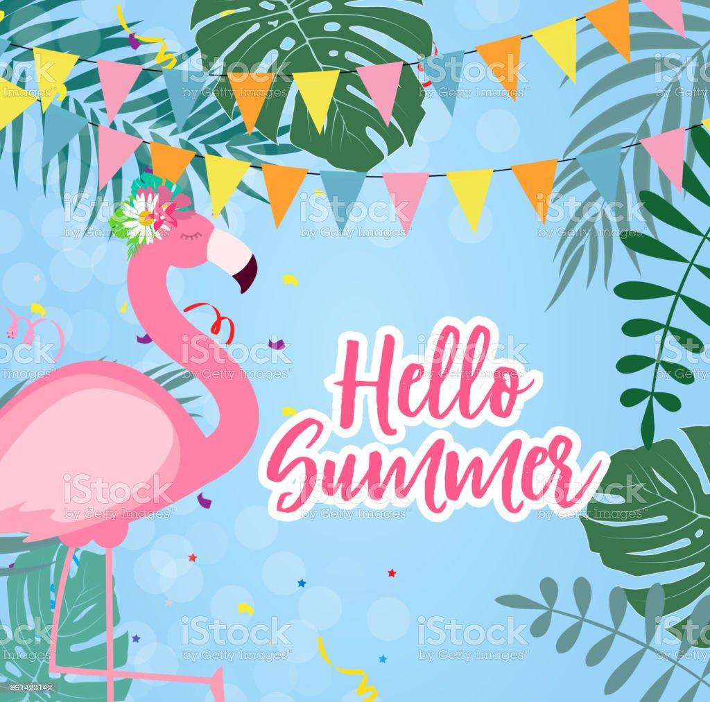 かわいいピンクのフラミンゴ ハロー夏背景ベクトル イラスト