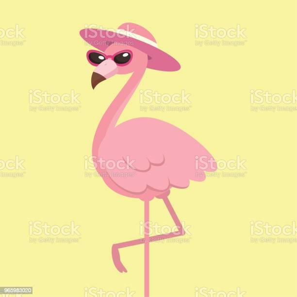 Cute Pink Flamingo With Hat Summer Time Concept Vector Illustration - Arte vetorial de stock e mais imagens de Animal