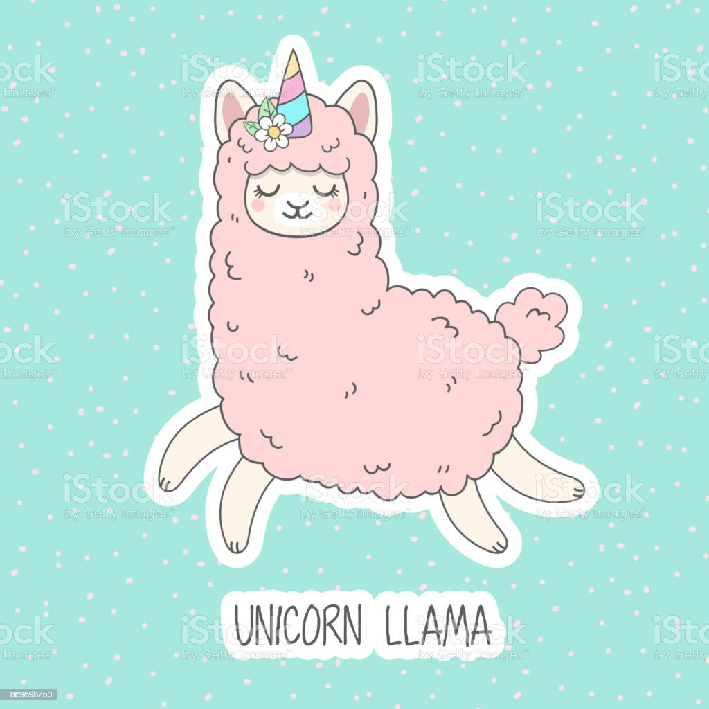 Cute pink fluffy unicorn llama (alpaca). vector art illustration