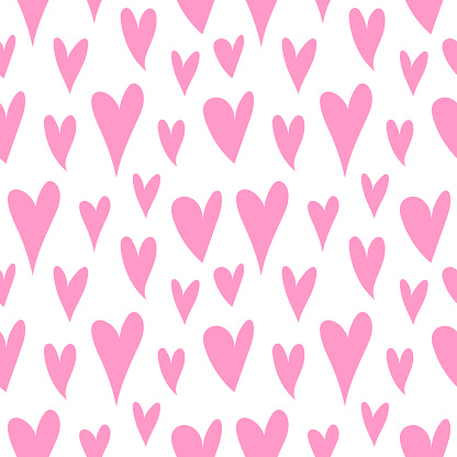 Cute pink hearts pattern, romantic print. Love texture, seamless pattern for valentine's day, simple background.