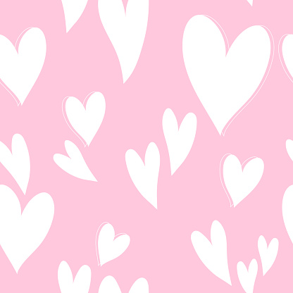 Cute pink hearts pattern, romantic print. Love texture, seamless pattern for valentine's day - romantic wallpaper