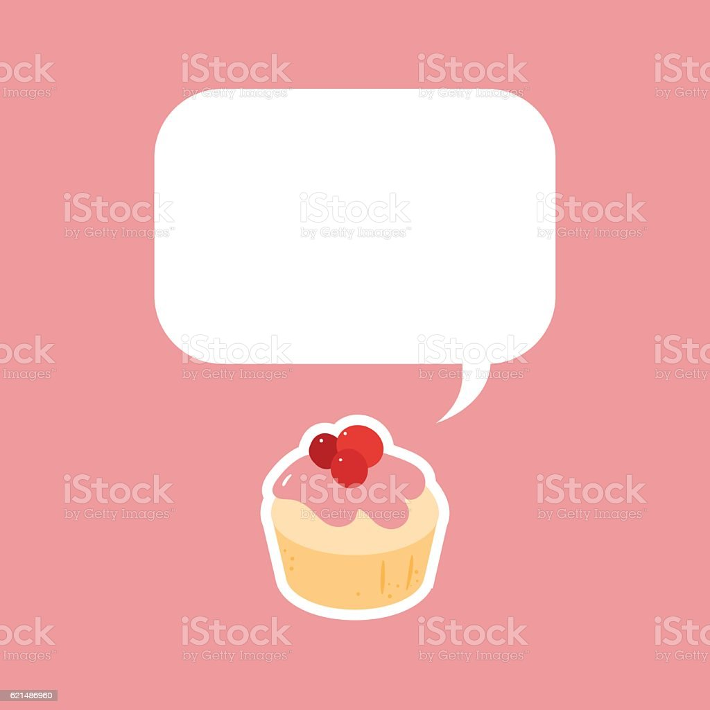 Cute pink muffin with big text box on top Lizenzfreies cute pink muffin with big text box on top stock vektor art und mehr bilder von abnehmen