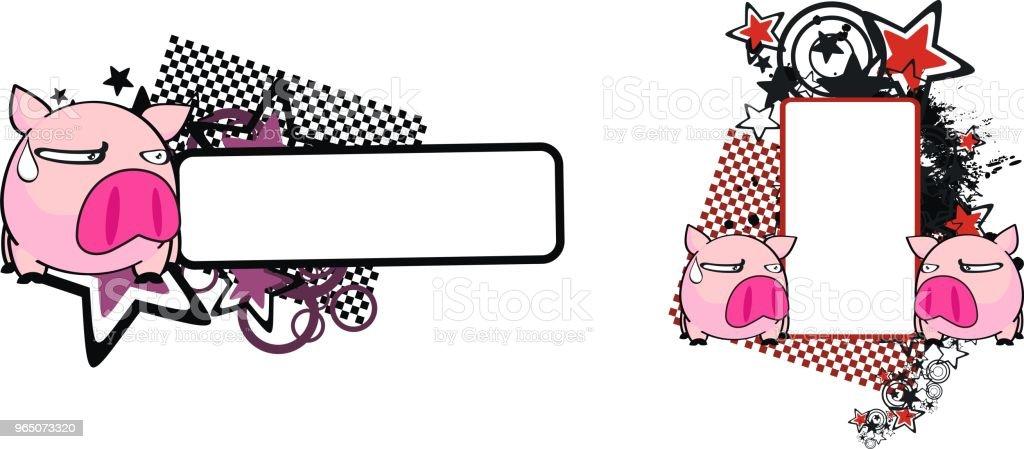 cute pink pig cartoon copy space set cute pink pig cartoon copy space set - stockowe grafiki wektorowe i więcej obrazów ameryka łacińska royalty-free