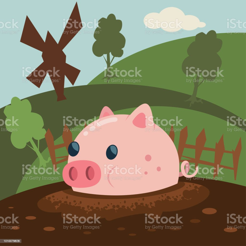 cute pink pig is a mud puddle vector cartoon illustration farm