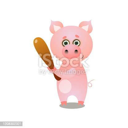 istock Cute pink pig playing baseball with wood bat 1208302321