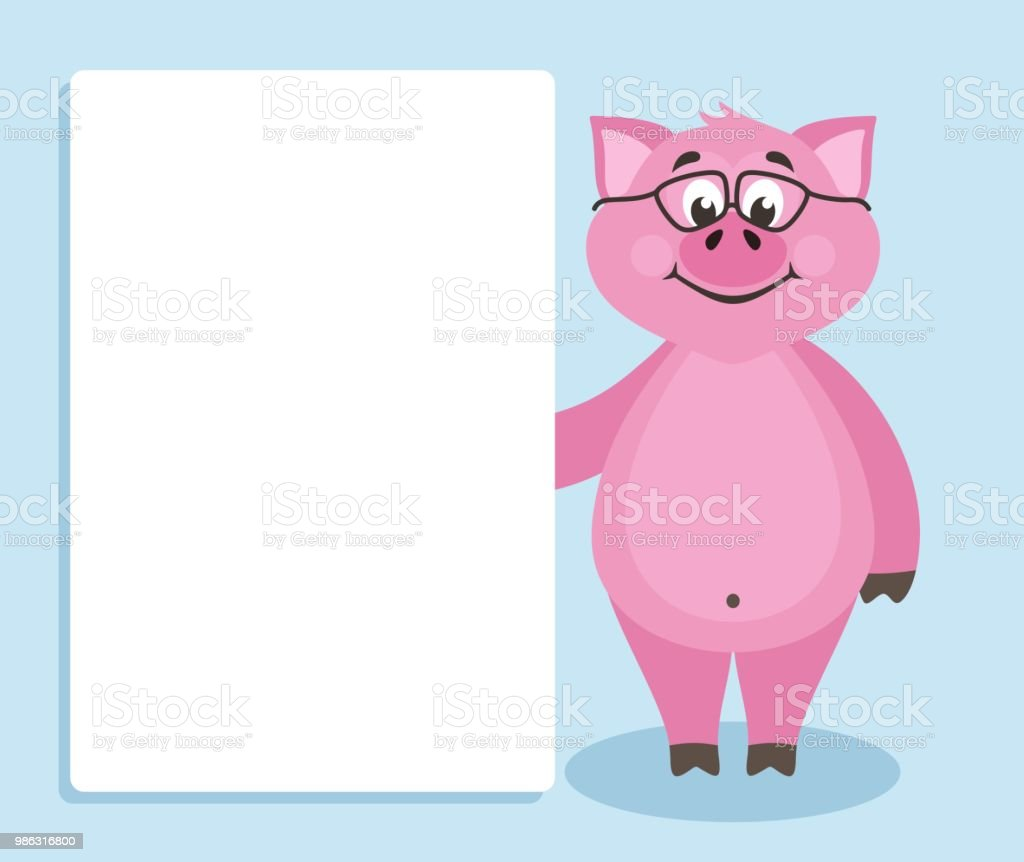 cute pink pig with glasses on blue background stock vector art