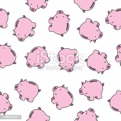 istock Cute Pink Pigs Seamless Pattern 1290003977