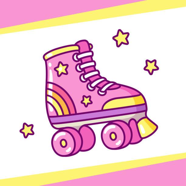 niedliche rosa rollschuhen - rollschuh stock-grafiken, -clipart, -cartoons und -symbole