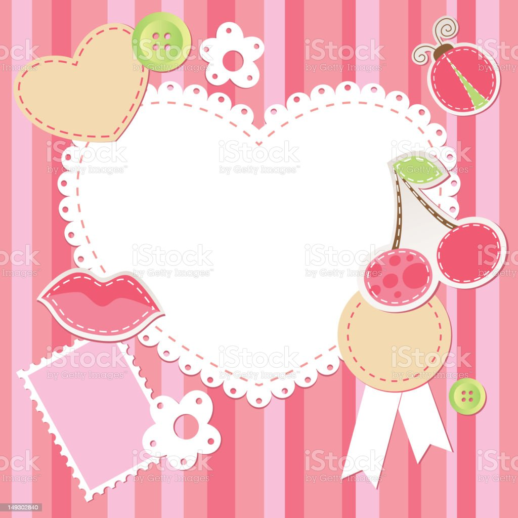 cute pink scrap set royalty-free cute pink scrap set stock vector art & more images of abstract