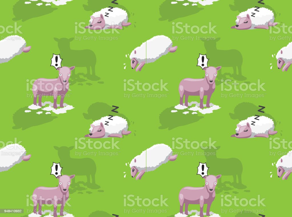 Cute Pink Sheep Background Seamless Wallpaper Royalty Free Stock