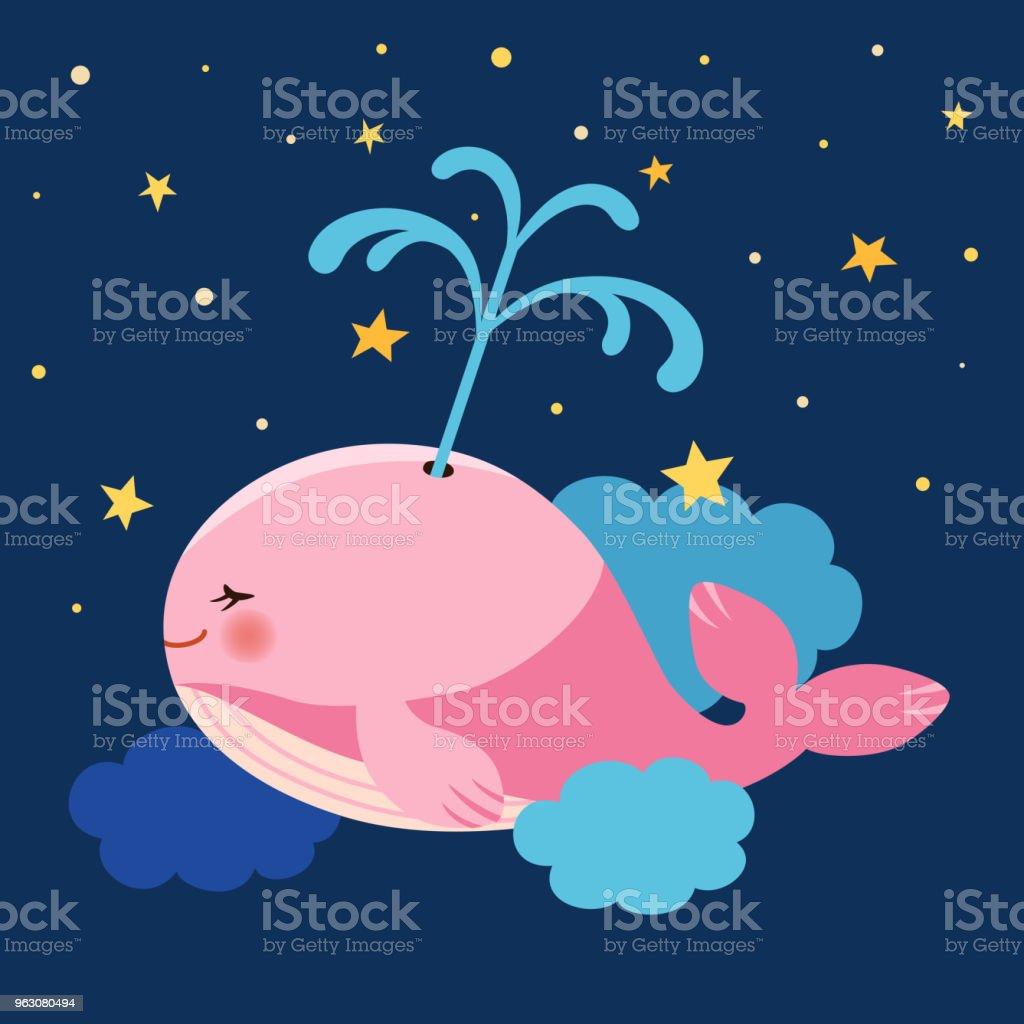 夜の空で泳ぐかわいいピンクのクジラ イラストレーションのベクター