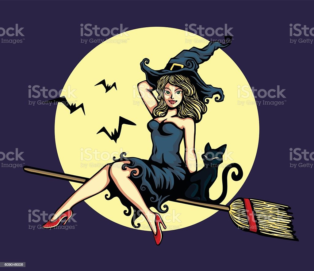 cute pinup girl in halloween witch costume flying broomstick vector