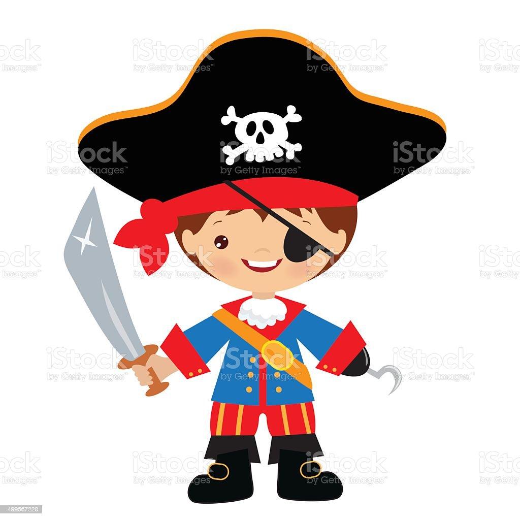 Cute Pirate Captain Vector Illustration Stock Illustration ...