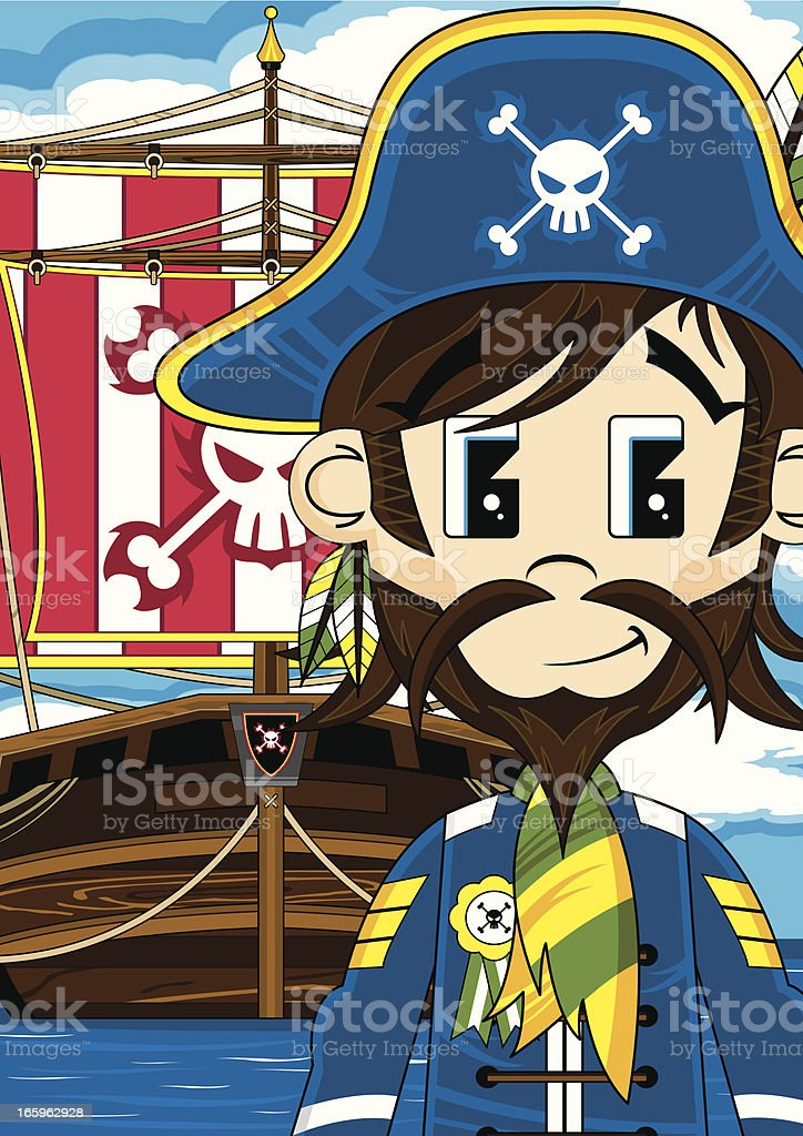 Cute Pirate Captain with Ship royalty-free stock vector art
