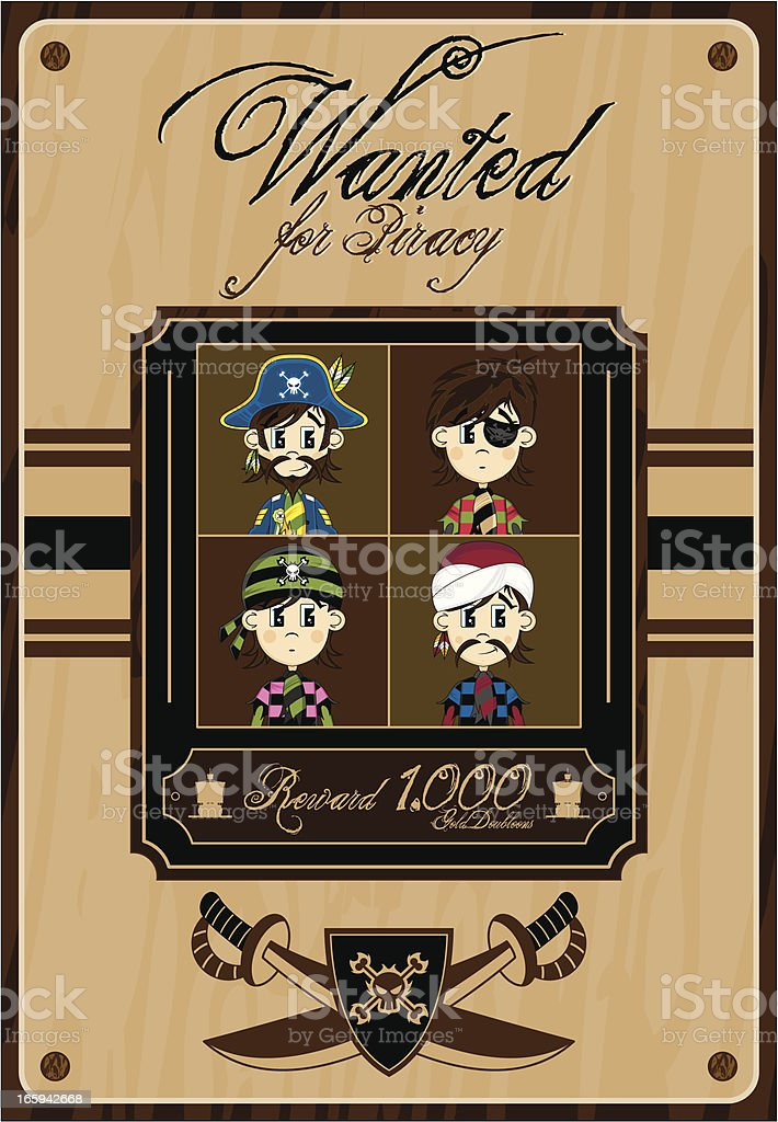 Cute Pirate Gang Wanted Poster royalty-free stock vector art