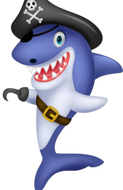 niedliche cartoon-piraten-shark - haifischköder stock-grafiken, -clipart, -cartoons und -symbole