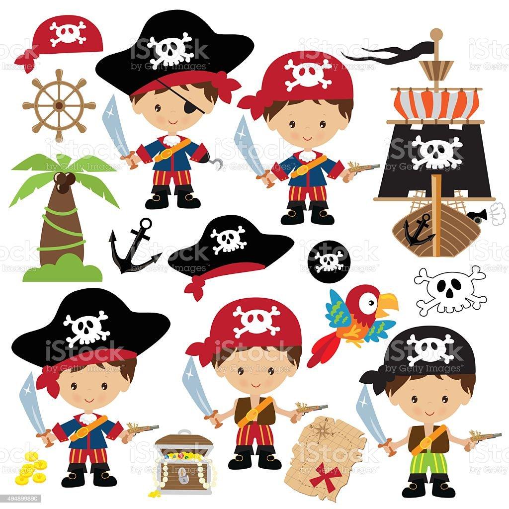 Cute pirate vector illustration vector art illustration