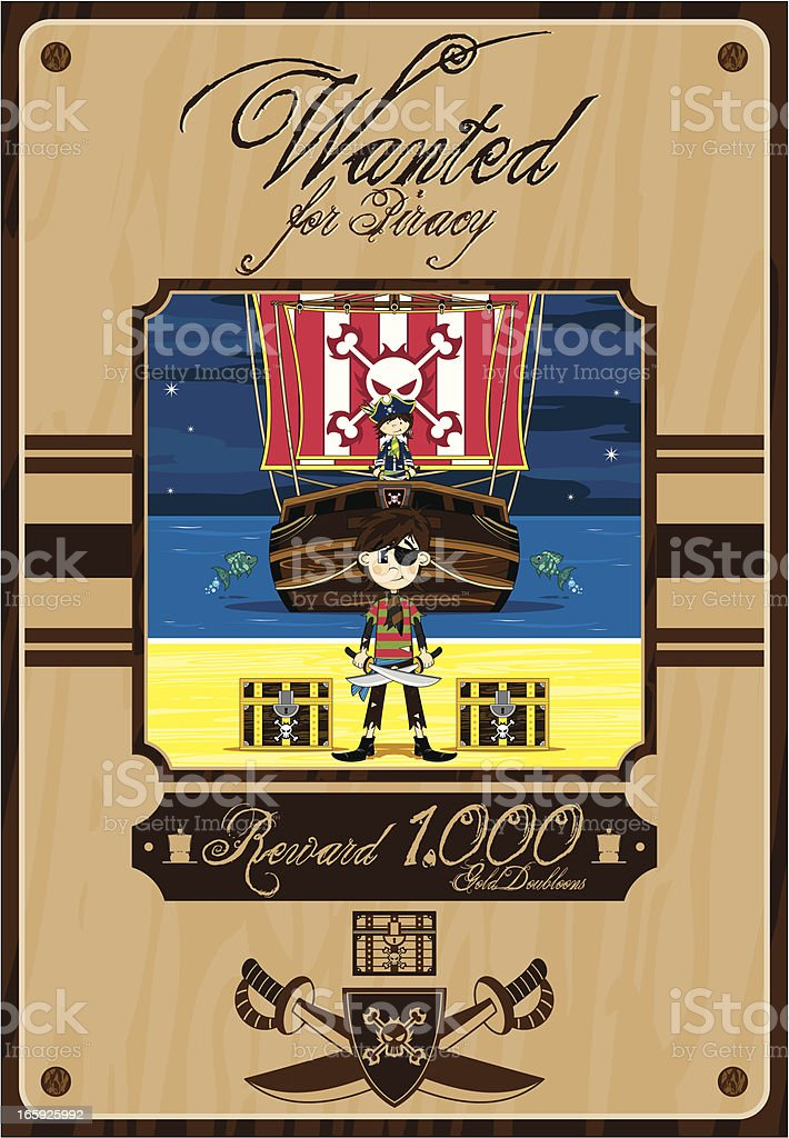 Cute Pirates and Ship Wanted Poster royalty-free stock vector art