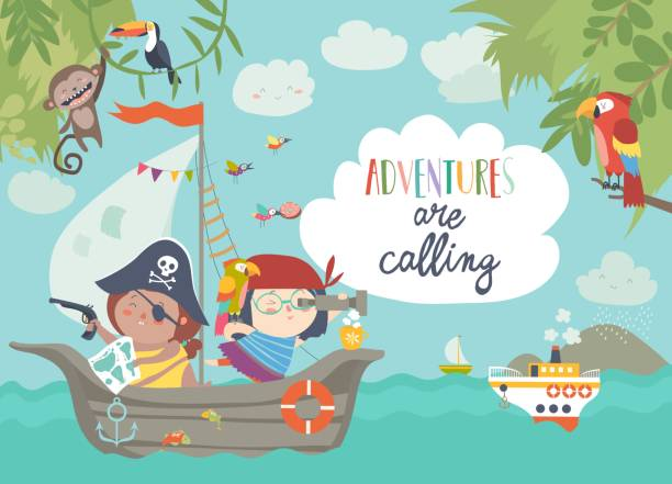 cute pirates sailing in their ship - pirates stock illustrations, clip art, cartoons, & icons