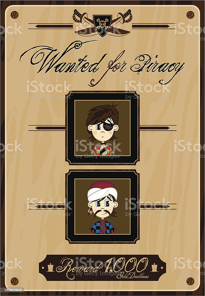 Cute Pirates Wanted Poster royalty-free stock vector art